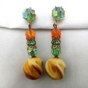 Vintage Green AB & Orange Rhinestone Clip Earrings